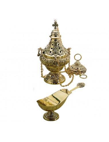 Incensario, naveta y cucharita estilo barroco