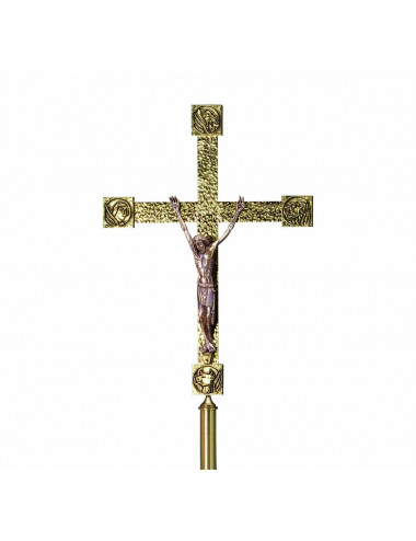 Processional Cross in brass Evangelists