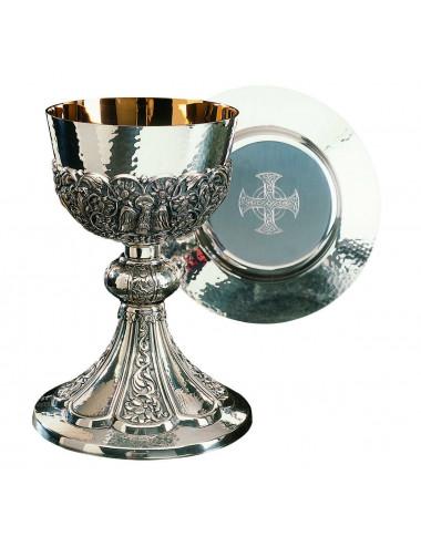 Chalice Bizantine style with dish Paten Evangelists symbols