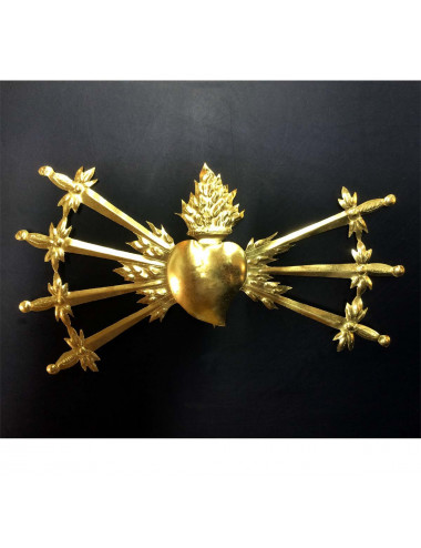 Heart with 7 swords brass
