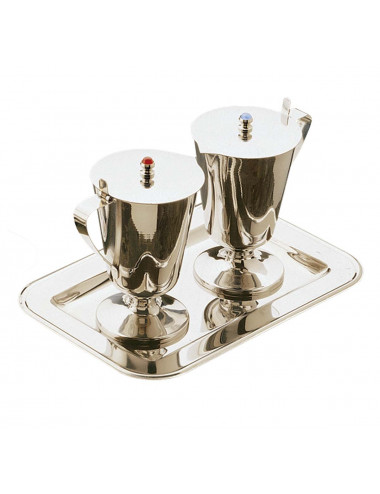 Cruet set with stones in the lids