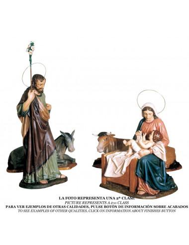 Nacimiento Niño en brazos de la Virgen María pasta madera