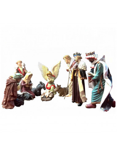 Nativity Set with Angel and Wise Men in resin