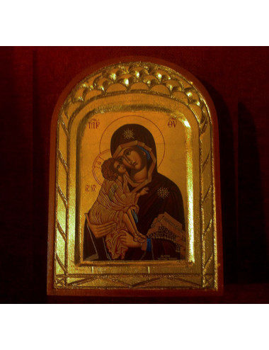 Icon Madonna hugging Baby Jesus in wood