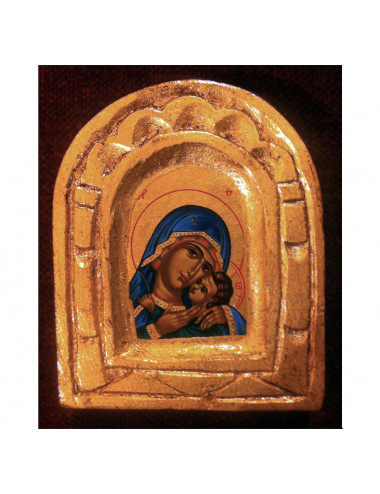 Icon Madonna hugging Baby Jesus in wood hand painted