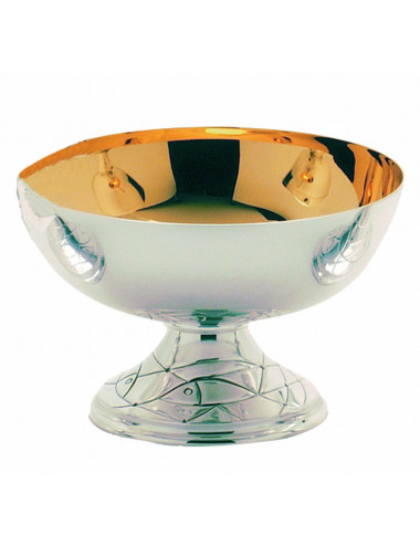 Open Ciborium modern style in silver plated brass