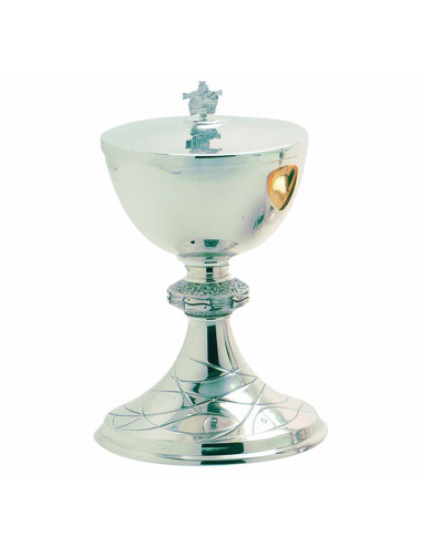 Ciborium of modern style in silver plated brass