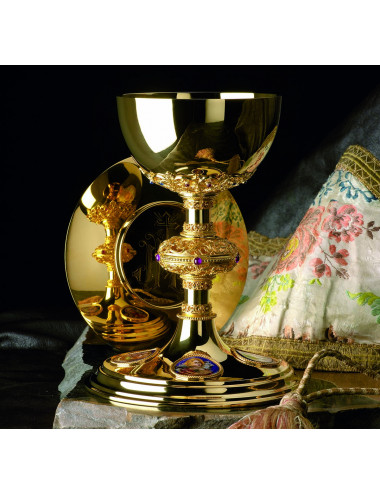 Gothic Chalice and Paten Evangelists enamels