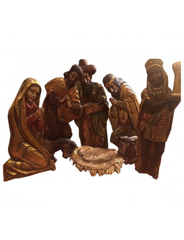 Semi bulk Nativity set polychromed wood