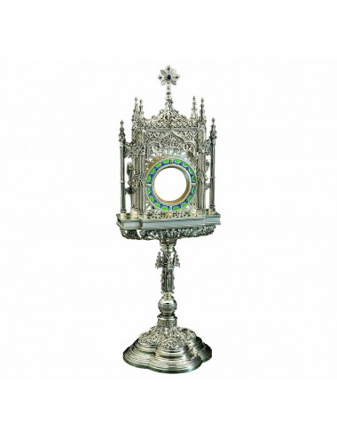 Gothic Monstrance sterling silver fretwork filigree and enamel