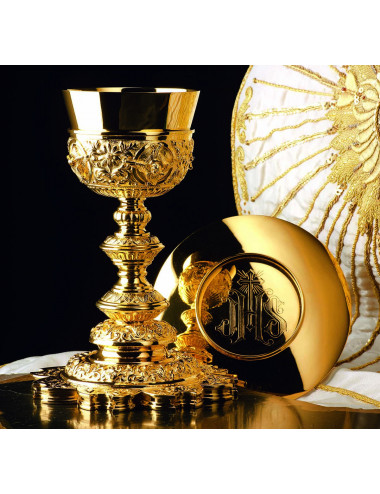 Baroque Chalice and Paten deep relief