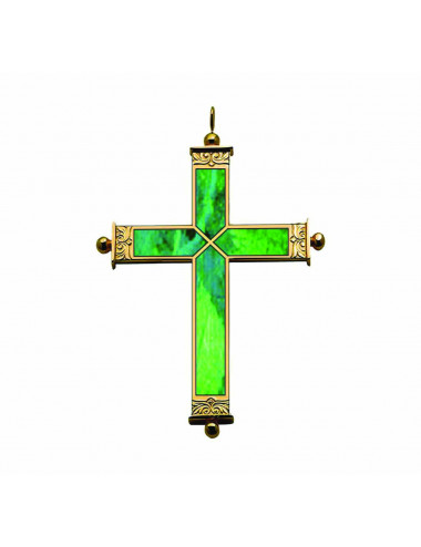 Pectoral Cross sterling silver and malachite