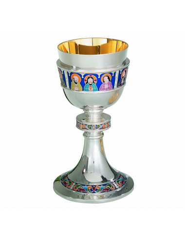 Modern Chalice with Paten Last Supper enamel