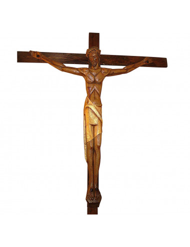Crucified Christ modern wood carving