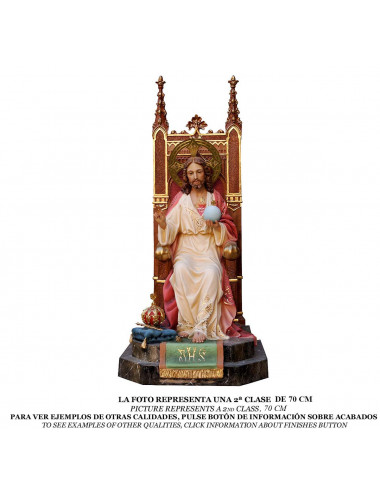 Sacred Heart of Jesus enthroned wood pulp