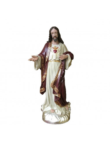Sacred Heart of Jesus made in colored wood