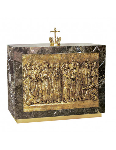 Tabernacle with Twelve Apostles image made in mable and brass