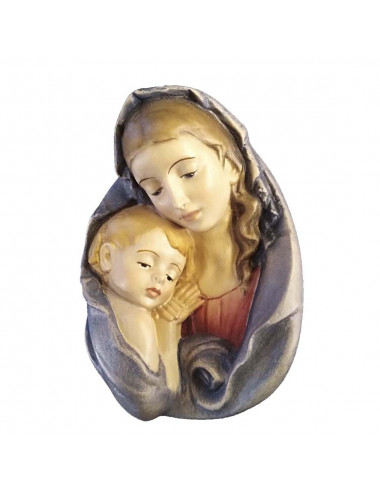 Medallion of the Virgin with Child made in wood carving
