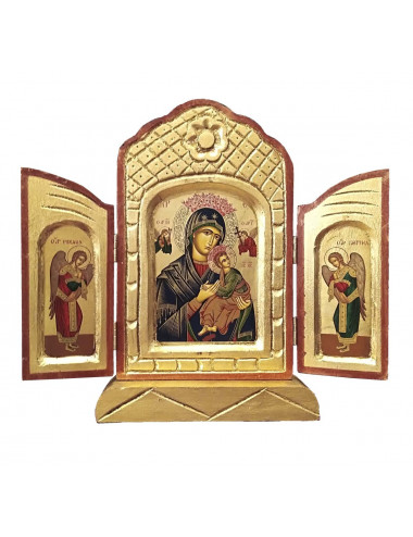 Tryptich of the Perpetual Help Madonna made in wood.