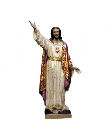 Sacred Heart of Jesus polychromed birchwood