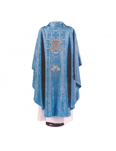 Gothic style chasuble with lilies and Virgin Mary motifs