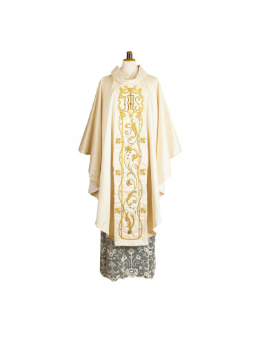 Gothic style Chasuble with JHS symbol and floral motifs