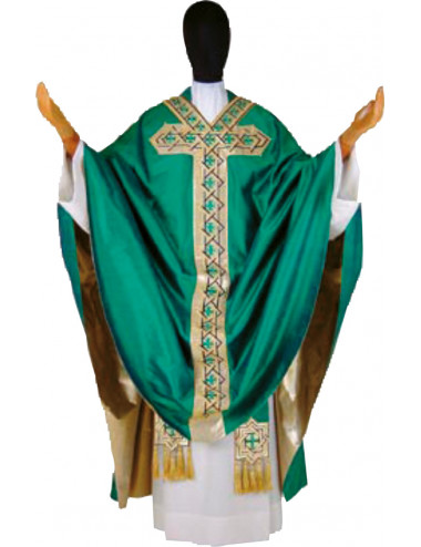 Gothic style Chasuble in silk decorated with braid