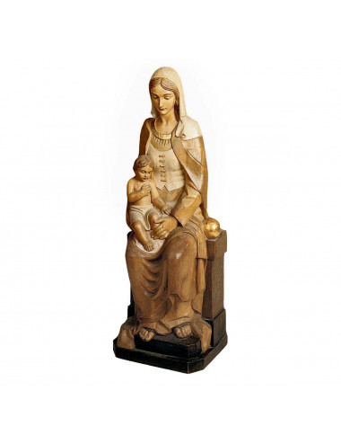 Madonna sitting with Child Jesus wood carving
