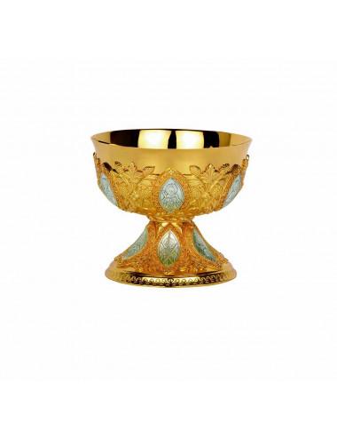 Copón-Patena con medallones ovalados y grabados