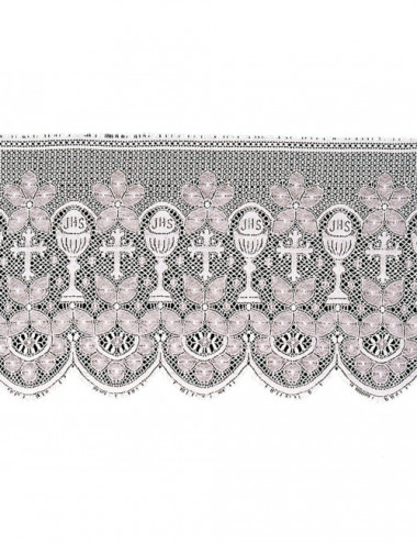 Lace decorated with chalices, crosses, JHS and floral motifs