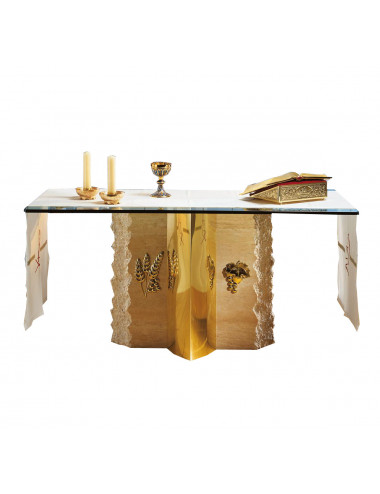 Altar table made in bronze, brass and marble