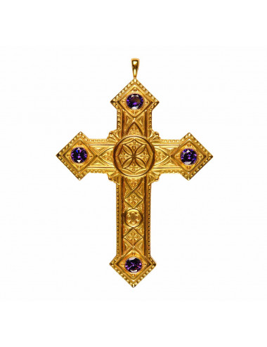 Pectoral Cross sterling silver amethysts