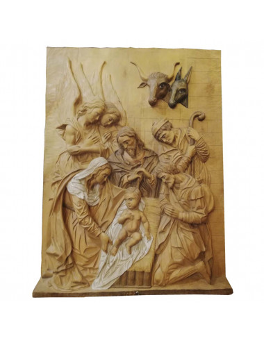Relief of the Nativity set made in wood carving