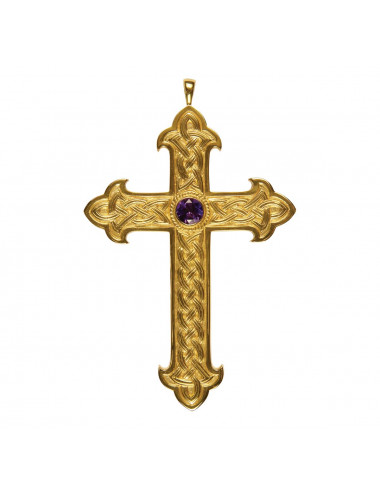 Celtic style pectoral cross made in sterling silver