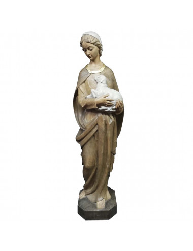 Virgin with lamb image made in wood carving