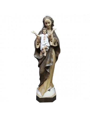 Imagen de la Virgen con el Niño en brazos en talla de madera