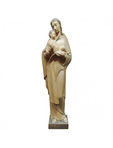Virgin with Child in arms made in wood carving