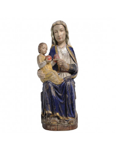 Romanesque style Virgin made in wood carving