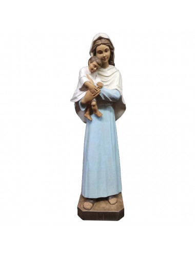Image of Virgin with Child with protective attitude colored wood carving