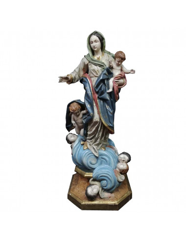 Virgin with Child image made in polychromed wood carving