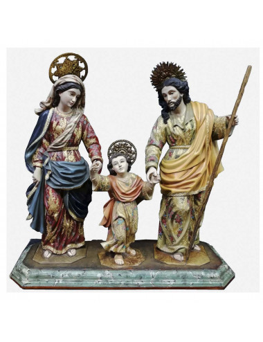 Holy Family image made in wood carving