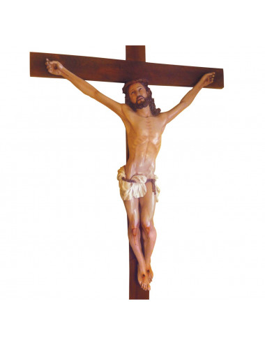 Crucified Christ in agony cedar wood