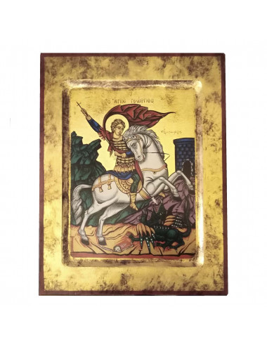 Saint George image made in Greek icon hand painted