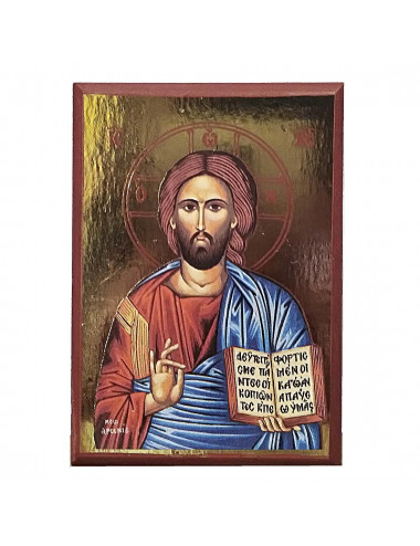 Greek icon with Pantocrator imagen hand painted