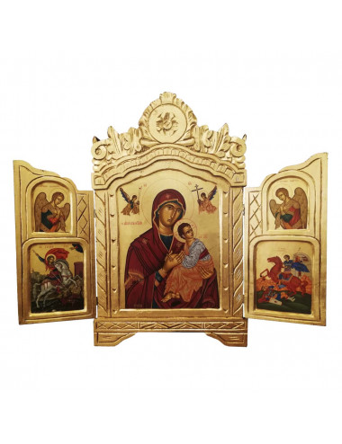 Greek triptych with the Virgin of Perpetual Help imagen hand painted