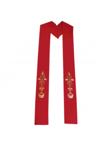 Red stole with spikes motifs