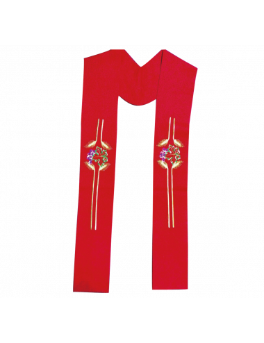 Red stole with spikes and grapevine motifs